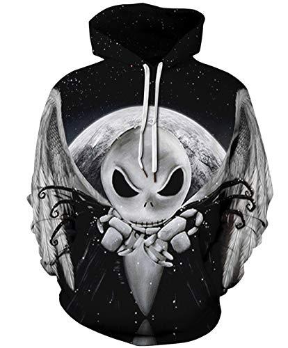 URVIP Unisex 3D Druck Hoodie Halloween Weihnachten Kapuzenpullover Langarm Oversize Sweatshirt Loose Fit Kapuzenjacke mit Großer Tasche QYDM-401 ()