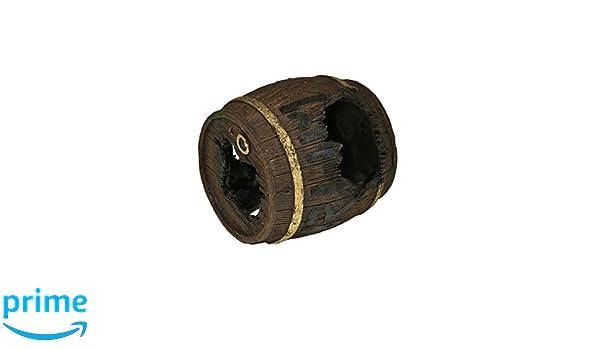 Rosewood Polyresin Triple Rum Barrel Cave Aquarium Ornament