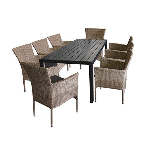 Ensemble de jardin 9 pièces table en aluminium et polywood 205x90 cm noir + 8 x Fauteuil en rotin synthétique couleur naturel, empilable avec coussins gris