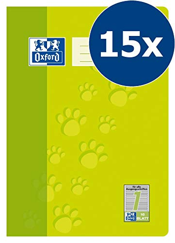 OXFORD 100050400 Schulheft Schule 15er Pack A4 16 Blatt Lineatur 1 (1. Klasse) hellgrün Erste Oxford