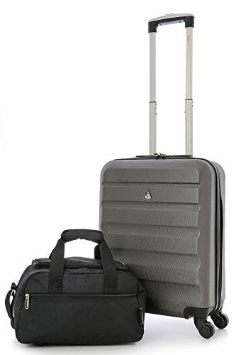 Aerolite 55x40x20 Taille Maximale Ryanair ABS Bagage Cabine à Main Valise Rigide Léger 4 Roulettes (Valise + 35x20x20cm 2ème Sac)