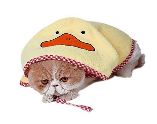 DELEY Cartoon Hund Saugfähig Kapuzen Badetuch Bademantel Mikrofaser Pyjama Welpen Bademäntel Warme Matte Gelbe Ente M