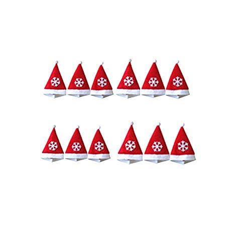 ke Weihnachten Kappen Besteck Weihnachtsdekoratives Geschirr Gabel Set Weihnachten Schneeflocke Hut Aufbewahrungswerkzeug (Red) ()