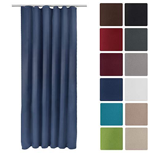 Beautissu Blackout-Vorhang Amelie BK mit Kräuselband - 140x245 cm Verdunklungsgardine Universalband Blau & weitere Farben