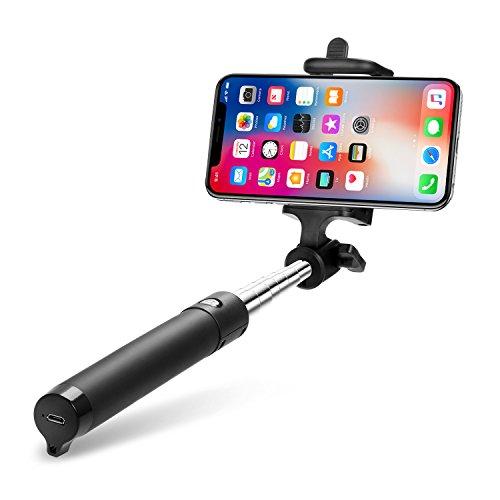 Bluetooth Selfie Stick, TOPLUS Selfiestick für alle handys bluetooth Selfie-Stange erweiterbar für iPhone 6s 6 5, Galaxy, Nexus und andere Smartphones (Schwarz)