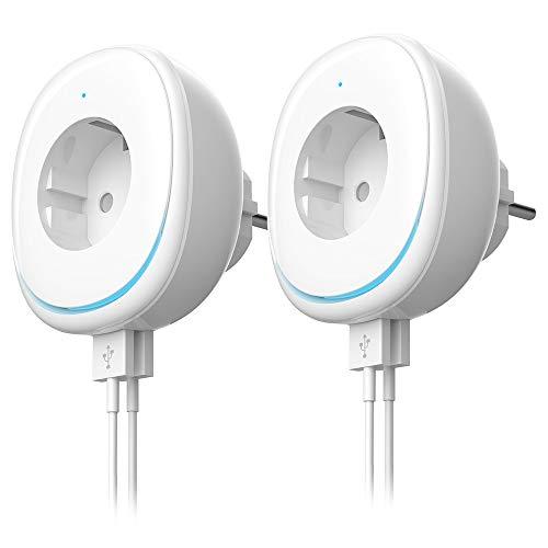 Wlan steckdose mit Nachtlicht,Doppel USB Port Smart plug WiFi Stecker fernbedienbar Timer,Kompatibel mit Alexa [Echo, Echo Dot] und Google Home(Elfenbeinweiß 2er Pack)
