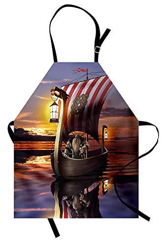 Wikinger-Schürze, ein Krieger in einem Schiff Twilight Barbar nordischen skandinavischen Kultur Artwork Print, Unisex-Küche Latzschürze mit verstellbarem Hals zum Kochen Backen Gartenarbeit, ()