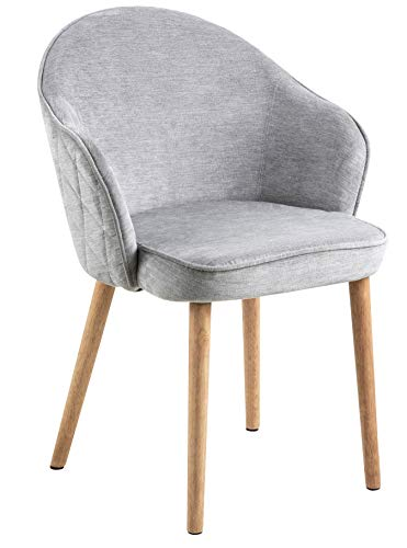 Spitzie - Dining chair, fabric grey, back and side harlequin sewing, legs rubber wood, oil treated