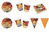 Party Store Web by Hogar Dulce Hogar Dragon Ball Z Goku Juego de decoración de Fiesta–Kit N ° CDC (24Platos, 24Vasos, 40servilletas y Guirnalda)