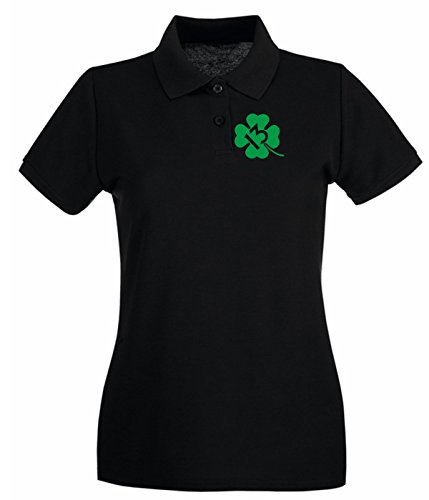 T-Shirtshock - Polo pour femme TIR0139 lucky 13 shamrock green tshirt Noir