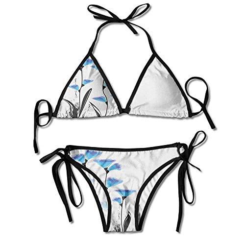 Women's Bathing Bikini Set,Tulips in Ombre Watercolored Sexy Bikini 2 Pieces