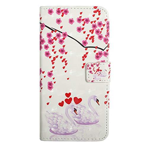 Coopay für Samsung Galaxy S8+ / S8 Plus Hülle,Full Body Rosa Pflaumenblüte Schwan Motiv Geldbörse,Glänzend 3D Fläche Handytasche,Magnetische Weich Innere Bumper Kunstleder Handyhülle + Schlüsselband - Muster Flache Geldbörse