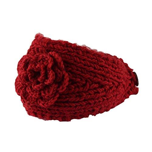 Saingace Art- und Weisefrauen-Häkelarbeit-Stirnband-Strick-Stirnband-Blumen-Winter-Ohr-Wärmer Headwrap neue Mode Headbands Haar Band Kopftuch Stirnband (Rot)