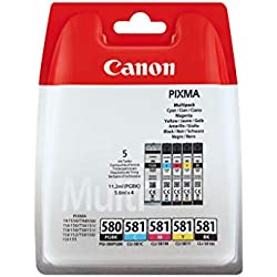 Canon PGI-580/CLI-581 Cartouche BK/CMYK Multipack Noir, Cyan, Magenta, Jaune (Multipack plastique)