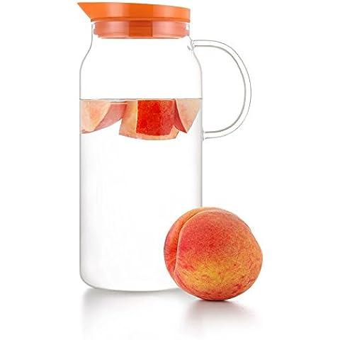 Samadoyo Caraffa in vetro soffiato, design moderno, 1300 ml, colore verde lime, arancione, ciliegia, argento arancione