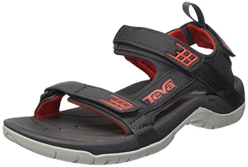 Teva Tanza, Herren outdoor-sandalen, Mehrfarbig (Dark Shadow/Red Dswr), 43 EU