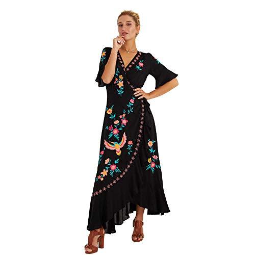 ZHANGHUIQIN Sommer Strandkleid Bohème Mode einfach Bestickt Rüschen Nähte Kleid schwarz XL -