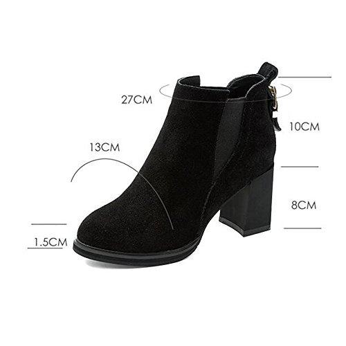 RTRY Chaussures pour femmes en cuir nubuck Automne Hiver Bottes Bottes de Combat Talon Bottines / Boots For Casual Bleu Brun Noir Brun US6 / EU36 / UK4 / CN36 sSq8lLRx4