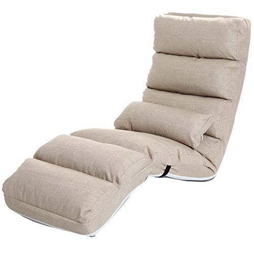 HXPK Lazy Couch Tatami Chair Folding Folding Waschbar Fenster Schlafzimmer Balkon Stoff Schlafsofa Verstellbare Liege,Gray - Stoff-schlafsofa