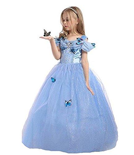 nzessin Kostüm Eiskönigin Kleid für Mädchen Schmetterling Karneval Verkleidung Party Cosplay Faschingskostüm Festkleid Weinachten Halloween Fest Kleid, Farbe: Style 1, Gr. 150 (Teufel Halloween-masken)