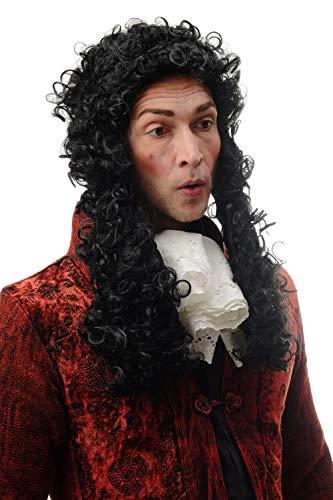WIG ME UP - 91175-ZA103 Perücke Herren Karneval Halloween Barock Renaissance Edelmann Adliger Schwarz Locken Lang 55 cm