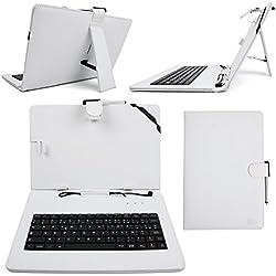 """Etui blanc + clavier intégré AZERTY (français) pour Asus Zenpad Z300M-6A037A Tablette hybride 10.1"""" + stylet tactile BONUS - Pochette aspect cuir DURAGADGET"""