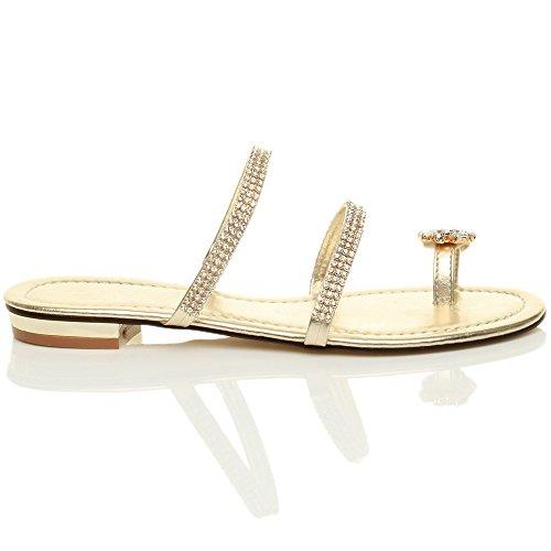 Donna tacco basso piatto anello punta strass cinghietti infradito sandali taglia Oro