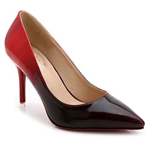 SUNROLAN Damen Schuhe High Heel Pumps PU Leder Elegant Stilettoabsatz Party Abend Arbeit Rot 34 (Leder Pumps Heel)