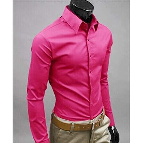 Iyfbxl camicia da uomo slim in cotone elegante da strada - colorata in tinta unita, rosa, xxxl