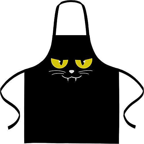 Evil Cat Face - Katzengesicht Halloween Kochschürze, Grillschürze, Latzschürze One Size (Ideen Halloween Kostüme Cat Für)