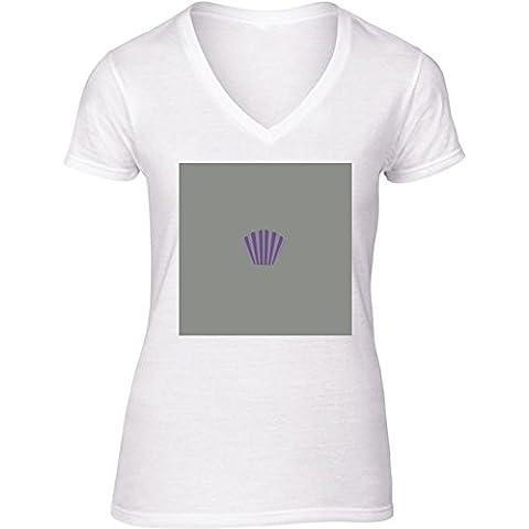 Camiseta V Cuello para Mujer - Púrpura Cáscara by ilovecotton