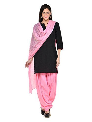 Stylenmart Women Cotton Solid Full Patiala Salwar Dupatta Set (Stmapa078602 _Pink _Free Size)