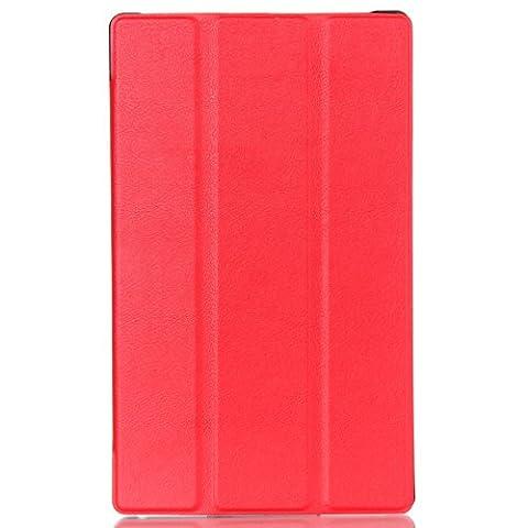 LMAZWUFULM Hülle für Lenovo Tab 3 8 (TB3-850F / TB3-850M) / Tab 2 A8-50 (8.0 Zoll) PU Leder Ultra Dünn Tri-Faltbar Lederhülle Custer Design im Bookstyle mit Stent-Funktion und Karten Slot Schutzhülle Ledertasche Flip Cover für Lenovo Tab 2 A8-50 / Tab 3 8 (TB3-850F / TB3-850M) (8.0 Zoll) Tablet-PC Rot