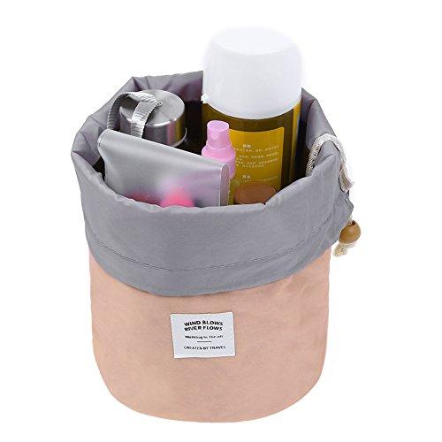 Pretty See Imperméable à l'eau Maquillage Baril Sac Portable Cosmétique Tonneau Sacs Multi-fonctionnel Voyage Seau Organisateur De Toilette, Rose