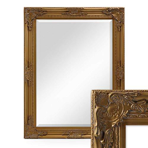 Photolini Wand-Spiegel im Barock-Rahmen Antik Gold mit Facettenschliff 64x84 cm/Spiegelfläche 50x70 cm