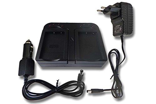 Caricabatterie doppio include adattatore da auto per toshiba camileo hd, h30, x100, x100 hd, h10, h20, p10, p30 hd pro, s10 pro