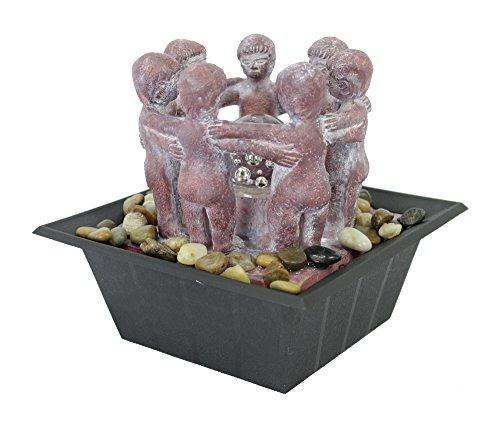 Decoline Zimmerbrunnen mit LED's 18cm 7 Kinder rötlich grau