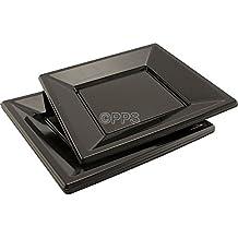 120 x negro cuadrado platos desechables de plástico 18 cm Ideal para fiestas – Entrega gratuita