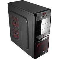 Aerocool V3XAD - Caja gaming para PC (semitorre, ATX, 7 ranuras de expansión, capacidad hasta 4 ventiladores, incluye ventilador trasero 8 cm y frontal LED rojo 12 cm, USB 2.0/3.0), color negro y rojo