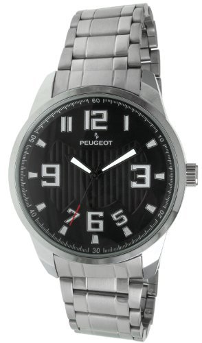 Peugeot 1026BK Men's Wrist Watch, Metal Band–Silver