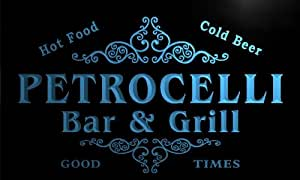 u34802-b PETROCELLI Family Name Bar & Grill Home Brew Beer Neon Sign