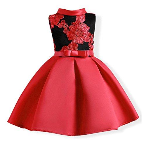 Longra Festliche Mädchen Kinderkleider Blumen Stickerei Kleider für Mädchen Prinzessin Kleid Hochzeits Brautjungfern Kleid Abendkleid Langes Kleid Cocktailkleid Ballkleid (Red, 120-130CM 6Jahre)
