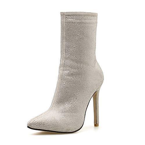 78ba80805e6264 UFACE Stiefel Spitz Water Drill High Heels Stiefel Herbst Winter Frauen  Seitlichem Reißverschluss Schuhe