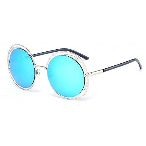 Yiph-Sunglass Sonnenbrillen Mode Retro Style Metallic Full Frame Runde UV-Schutz Sonnenbrille Farbige Linse Fahren im Freien (Farbe : Blau)