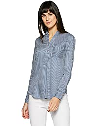 Styleville.in  Women's Semi Formal Strip Shirt with roll Sleeve