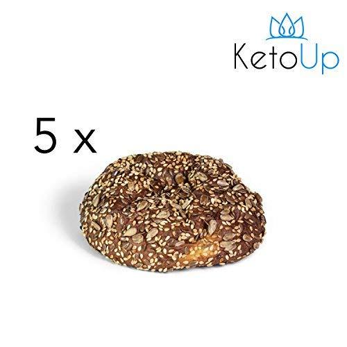 KetoUp: 5 frische Low Carb Mehrkornbrötchen | Ketogene und Low Carb Ernährung | Sportnahrung | Gesunde Ernährung | maximal 3{d851f4c277e8d8ca396c868e70d2abef414222e207d965cfd3dd22680a492ff0} Kohlenhydrate - 5x100g