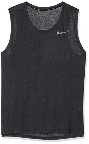 Nike Herren Breathe Training Tanktop, Black Heather/Metallic Hematite, S (Dri-fit-sleeveless Tee)