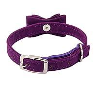 Collier Velours Réglable avec Cloche Sécurité pour Chaton Chat - Violet, 17 * 9cm