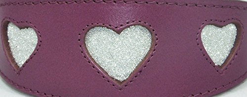14-43,2 cm Collier lévrier Cuir Violet avec éclat Paillettes Cœur