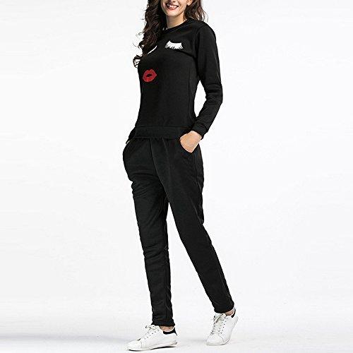 Sfit 2 Pièces Ensemble Femme Survêtement Sports Sweat Pull Manche Longue et Pantalon Gym Yoga Jogging Fitness Taille Haute Imprime Respirable Casual pour Automne Hiver Noir